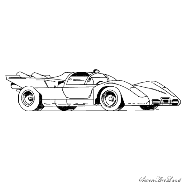 How to draw Ferrari 512S car with a pencil step by step