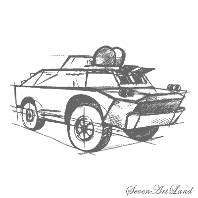 How to draw BRDM-2 with a pencil step by step