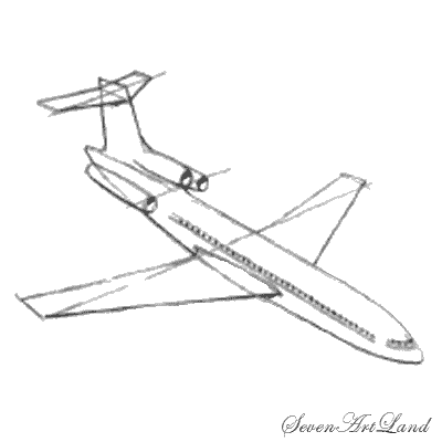 How to draw the Boeing 727 plane with a pencil step by step