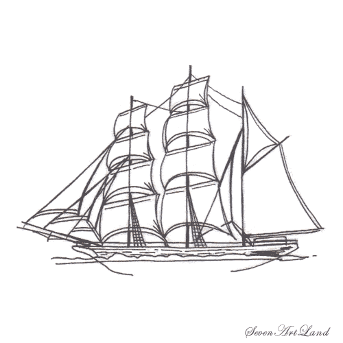 How to draw the sailing vessel Brigantine with a pencil step by step