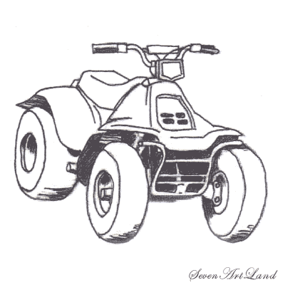How to draw the ATV with a pencil step by step