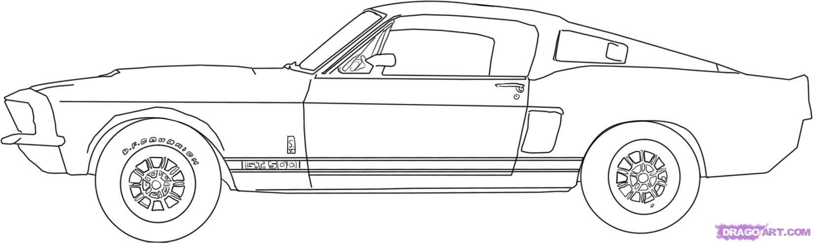 Comme dessiner l'automobile Shelby Mustang GT500 de 1967 par le crayon progressivement