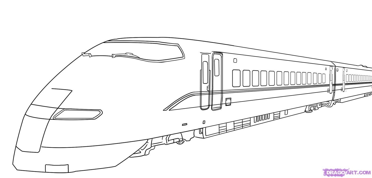 How to draw the high-speed Train with a pencil step by step