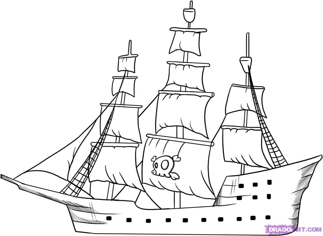 How to draw the piracy ship with a pencil step by step