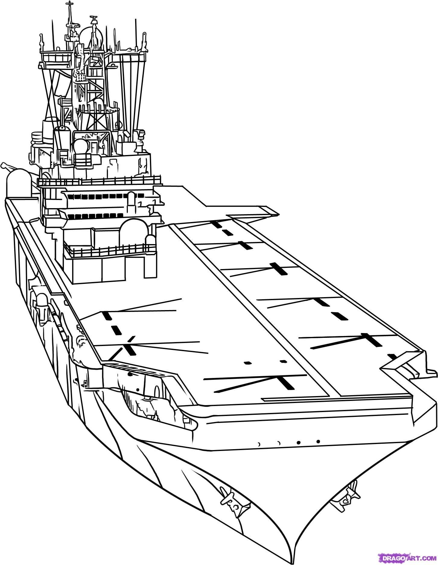 How to draw the Aircraft carrier with a pencil step by step