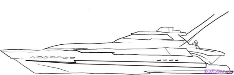 How to draw the Yacht with a pencil step by step