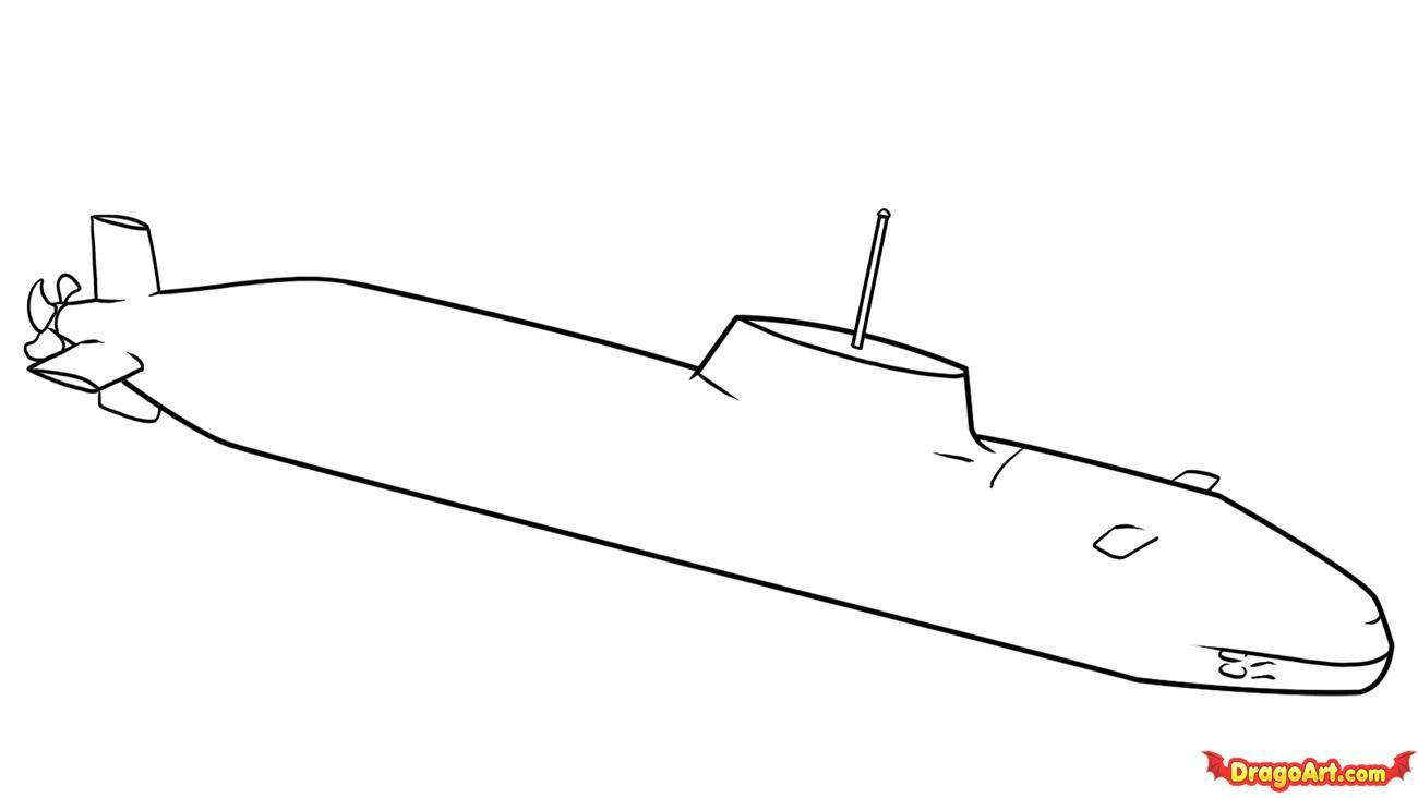 How to draw the Submarine with a pencil poetapn