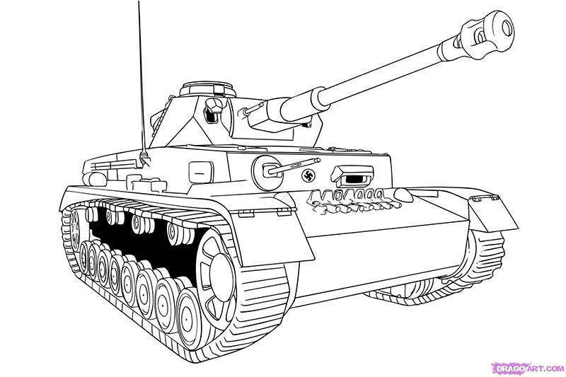 How to draw the Tank with a pencil step by step