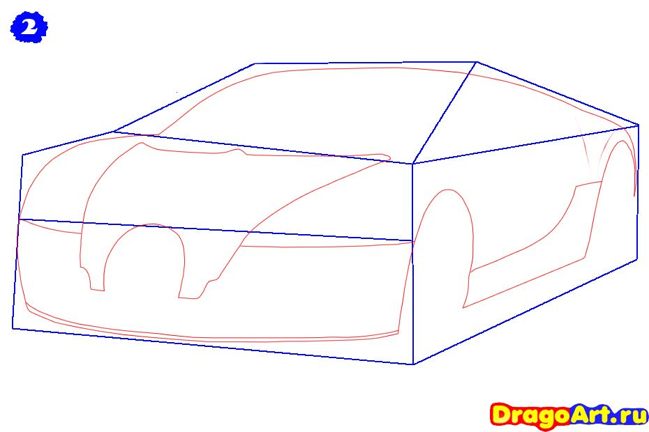 How to draw Lada 2113 (VAZ 2113) with a pencil step by step 3
