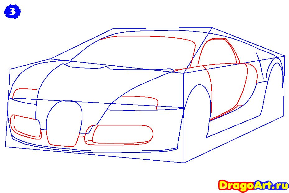 How to draw Lada 2113 (VAZ 2113) with a pencil step by step 4