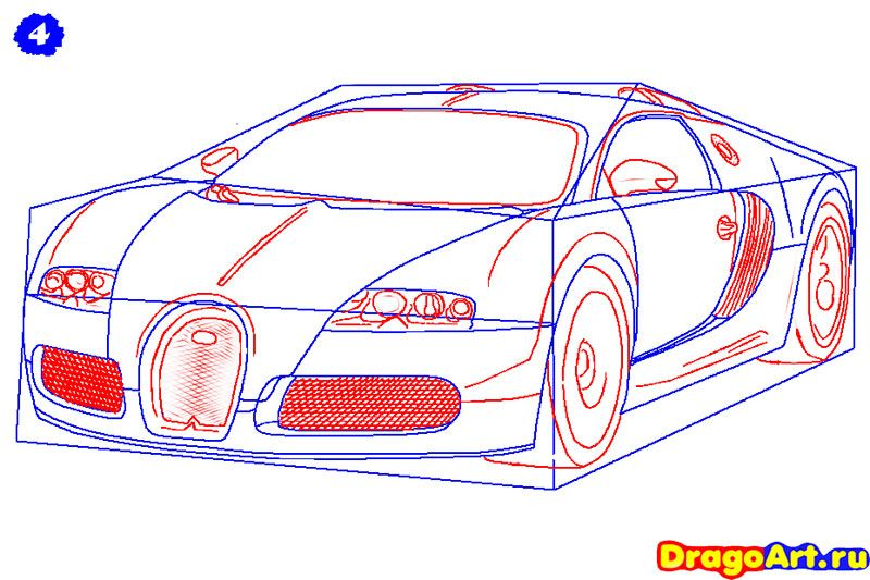 How to draw Lada 2113 (VAZ 2113) with a pencil step by step 5