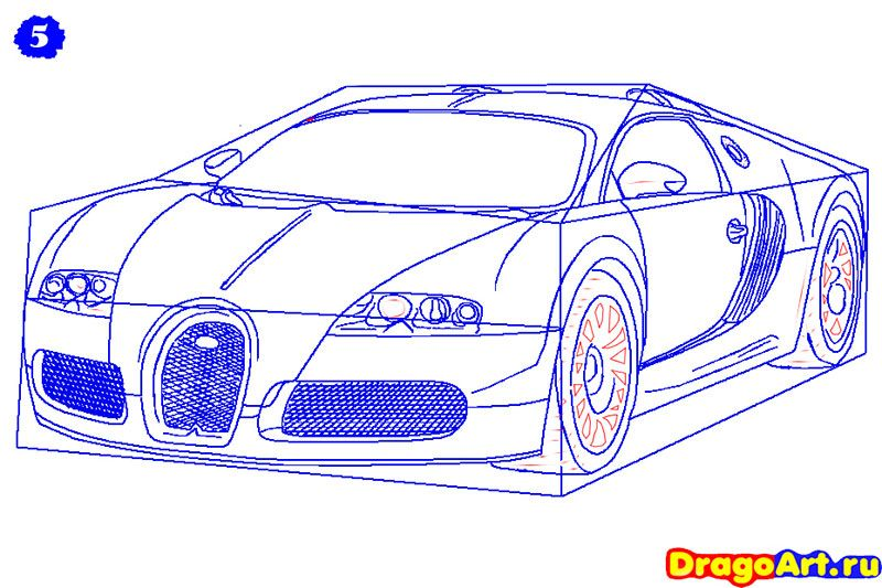 How to draw Lada 2113 (VAZ 2113) with a pencil step by step 6