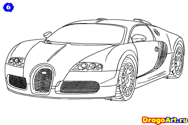 How to draw Bugatti Veyron with a pencil step by step