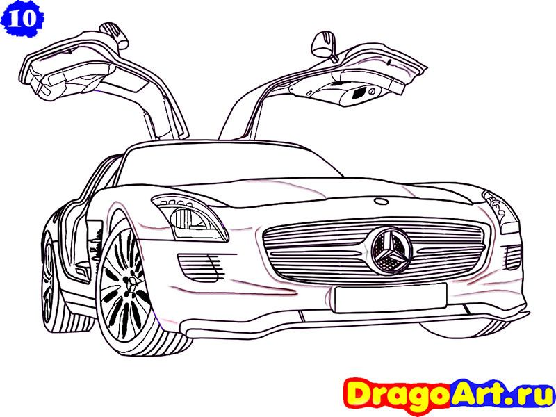 How to draw Mercedes SLS AMG with a pencil step by step