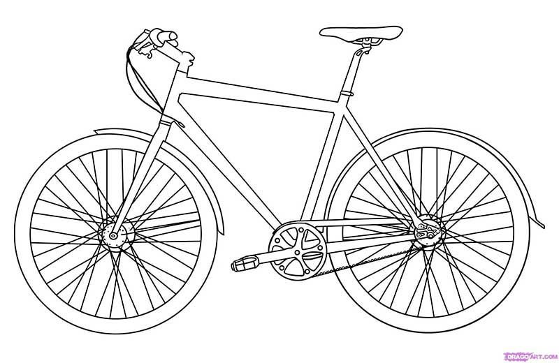 How to draw the bicycle with a pencil step by step