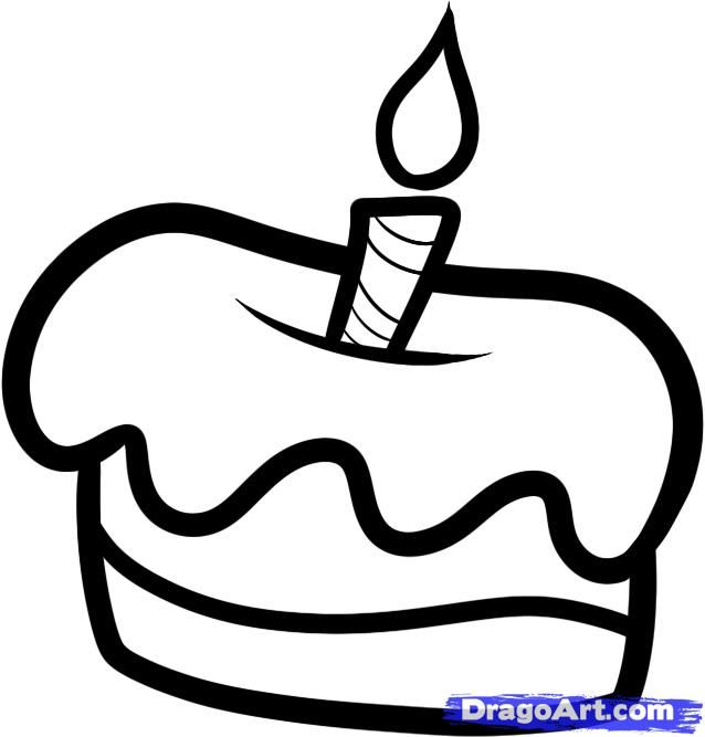 How to draw a small cake with a candle a pencil step by step