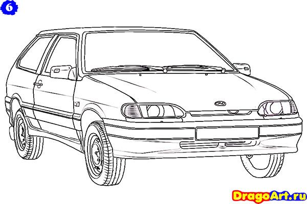 How to draw Lada 2113 (VAZ 2113) with a pencil step by step