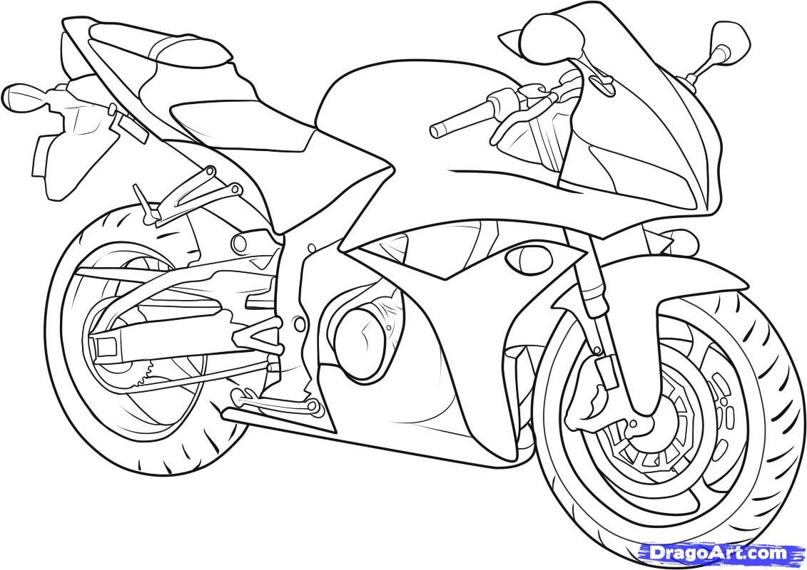 How to draw the motorcycle step by step