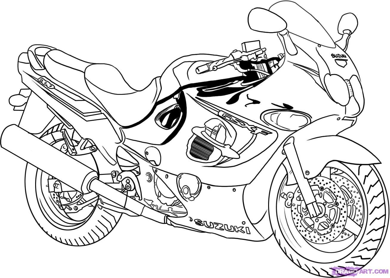 As it is correct to draw the motorcycle (Suzuki Katana 600) step by step