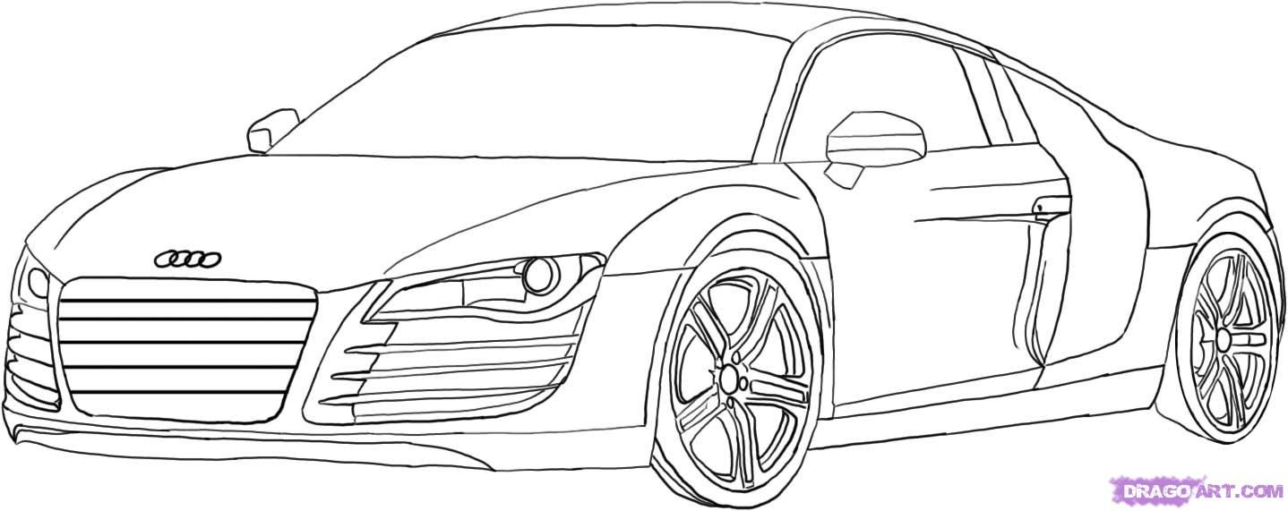 How to draw the Audi R8 car step by step