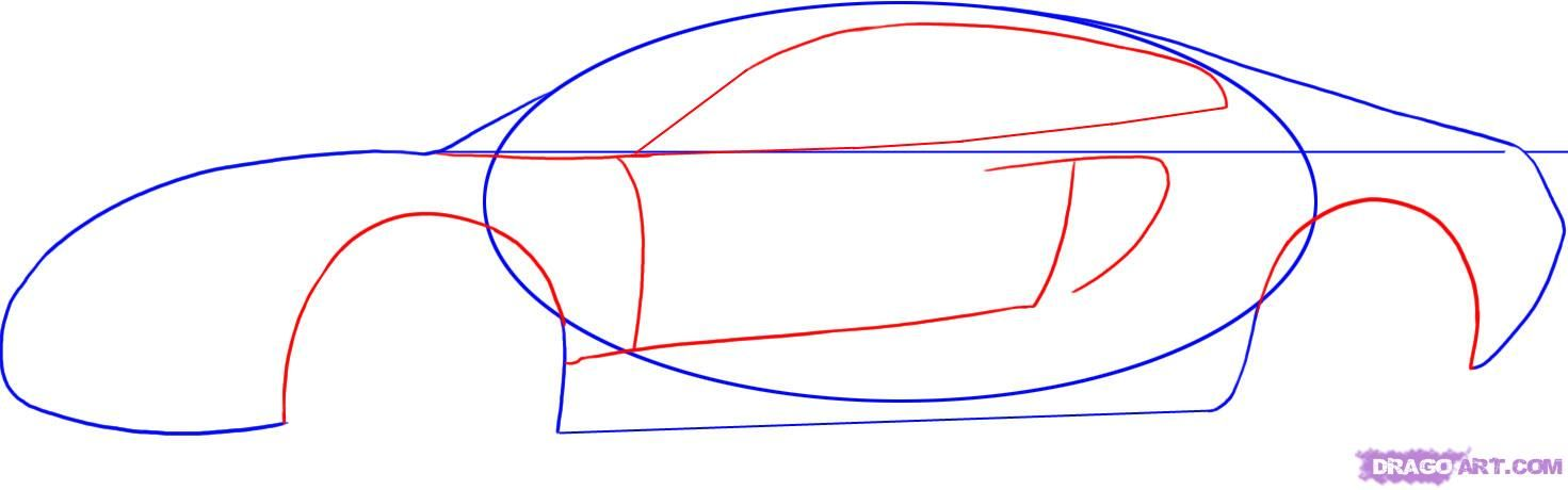 How to draw the Aston Martin Virage car step by step 3