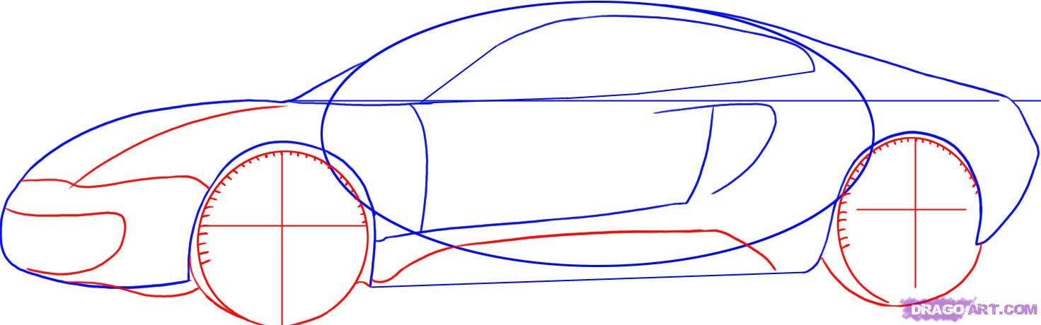 How to draw the Aston Martin Virage car step by step 4