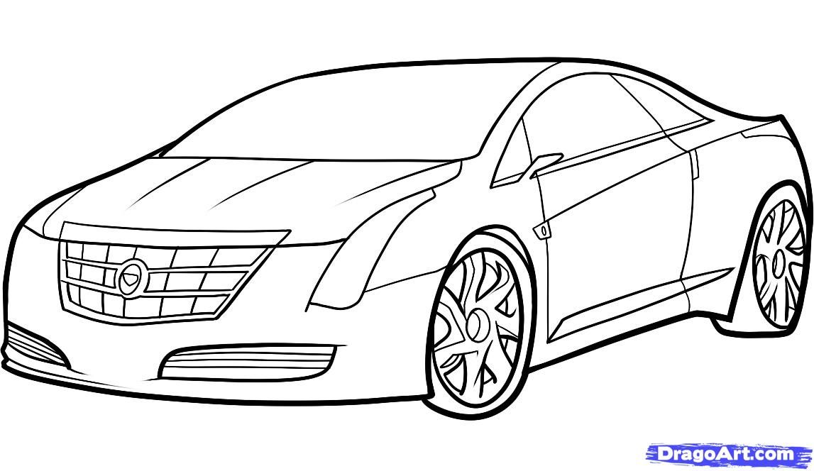 How to draw the car Cadillac (Cadillac ELR 2013) step by step