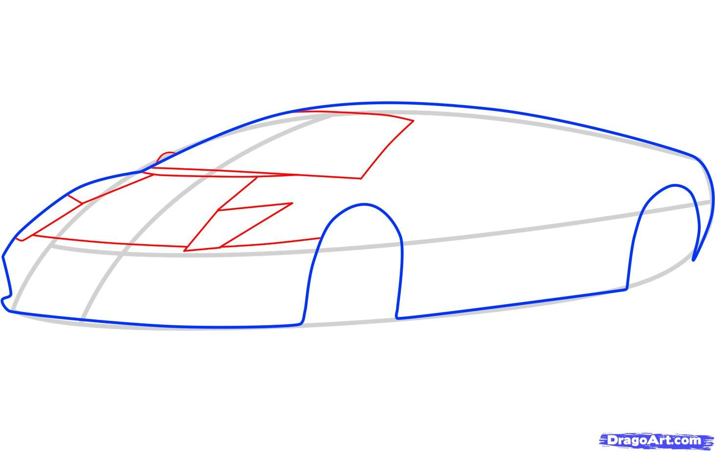 How to draw the Mercedes-Benz car step by step 4