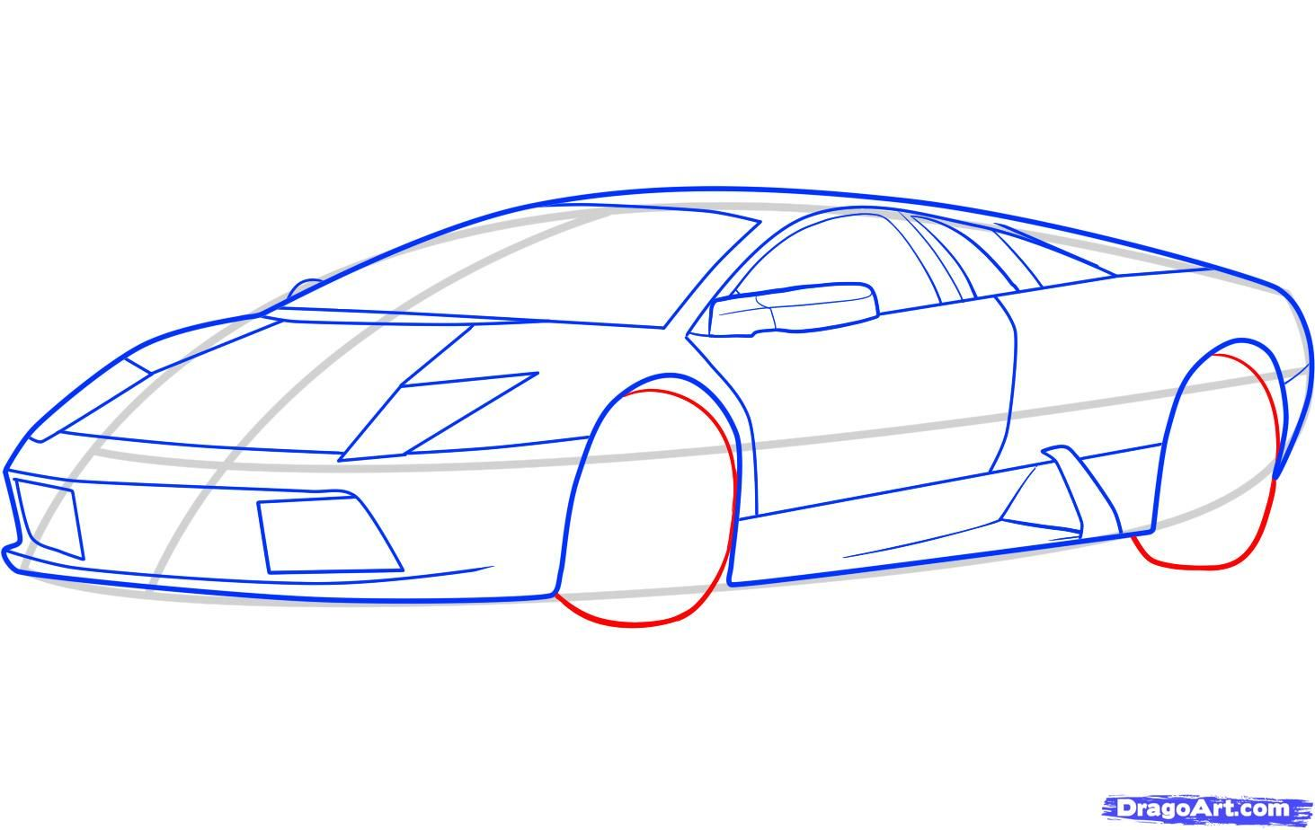 How to draw the Mercedes-Benz car step by step 7