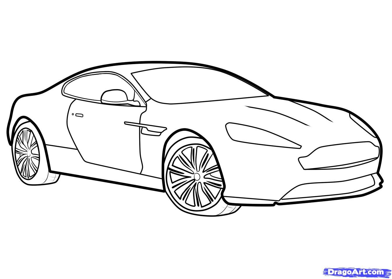 How to draw the Aston Martin Virage car step by step