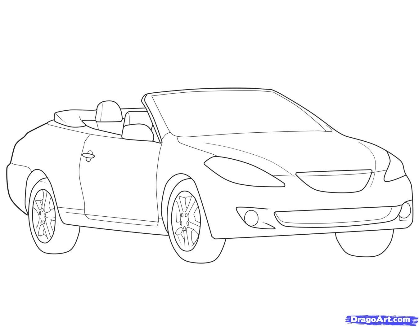 How to draw the car a cabriolet step by step