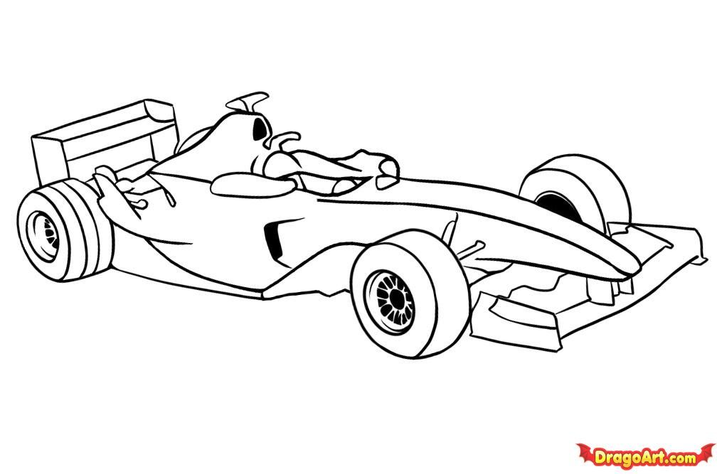 How to draw the F1 car step by step