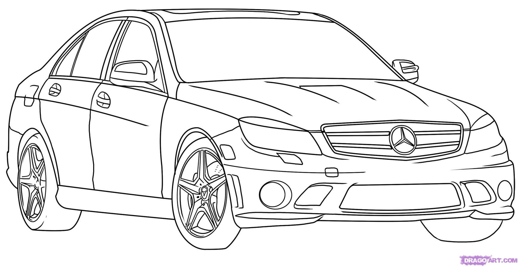 How to draw the Mercedes-Benz car step by step