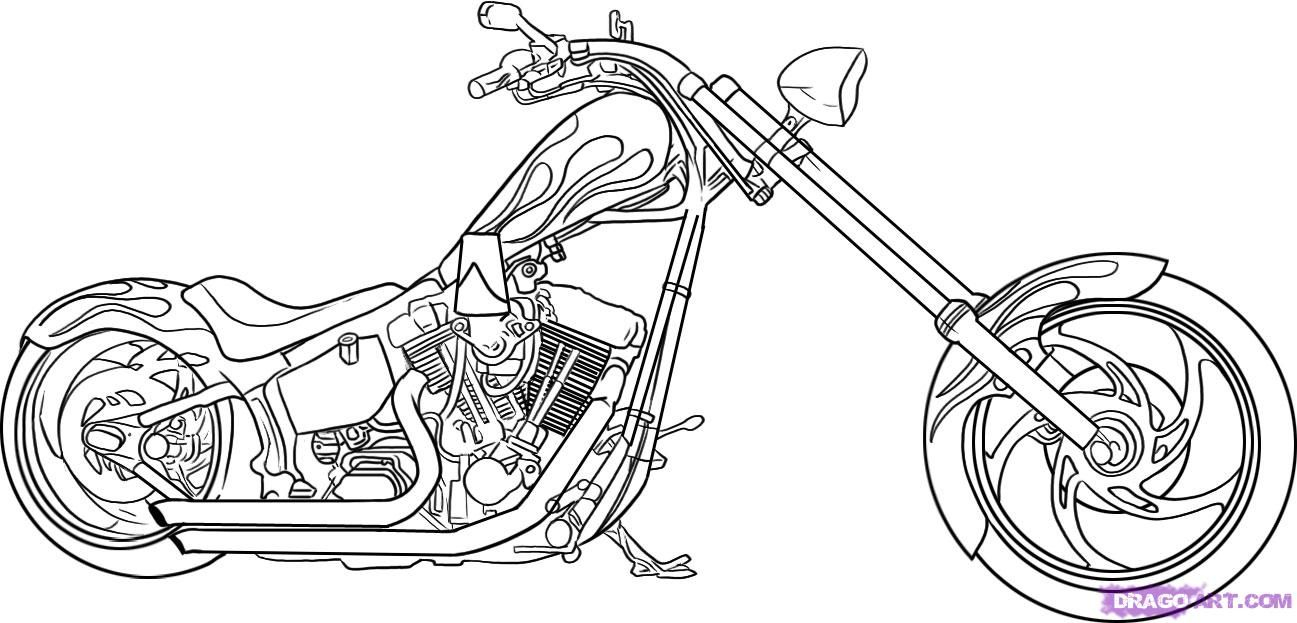 How to draw the motorcycle, a bike (Harley-Davidson) step by step