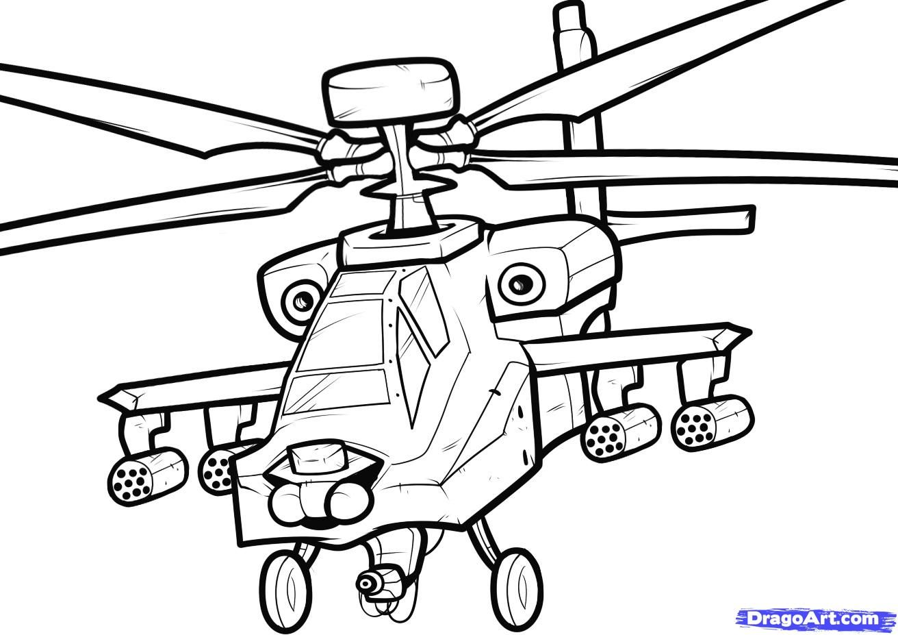 How to draw the Apache (Apache) helicopter step by step
