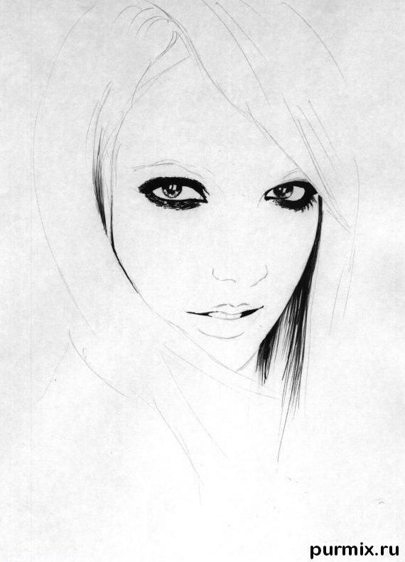 How to draw a portrait Taylor Momsen with a simple pencil 2