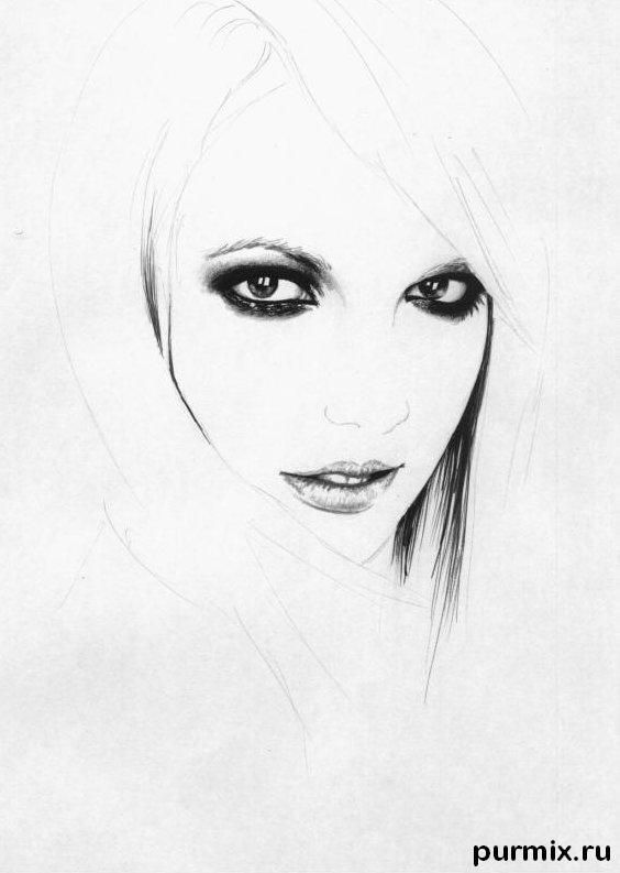 How to draw a portrait Taylor Momsen with a simple pencil 3