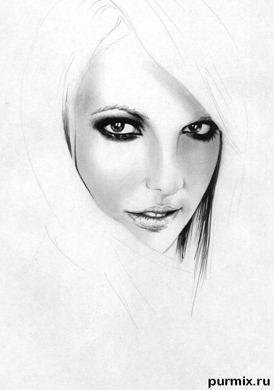 How to draw a portrait Taylor Momsen with a simple pencil 4