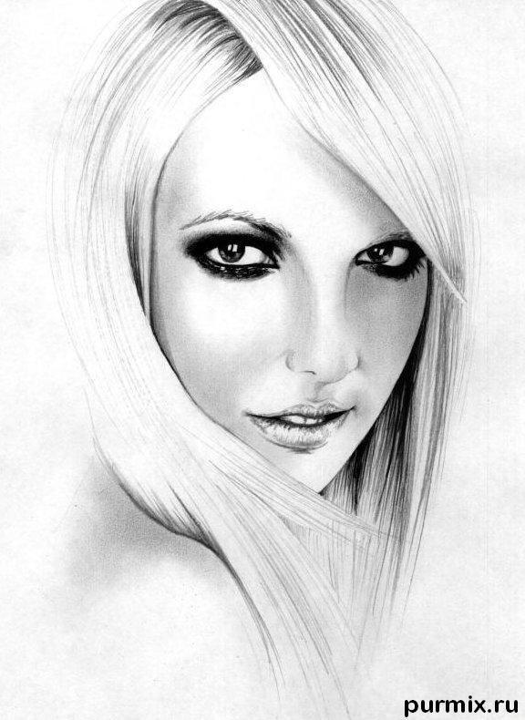 Como dibujar el retrato Britney Spears por el l?piz simple