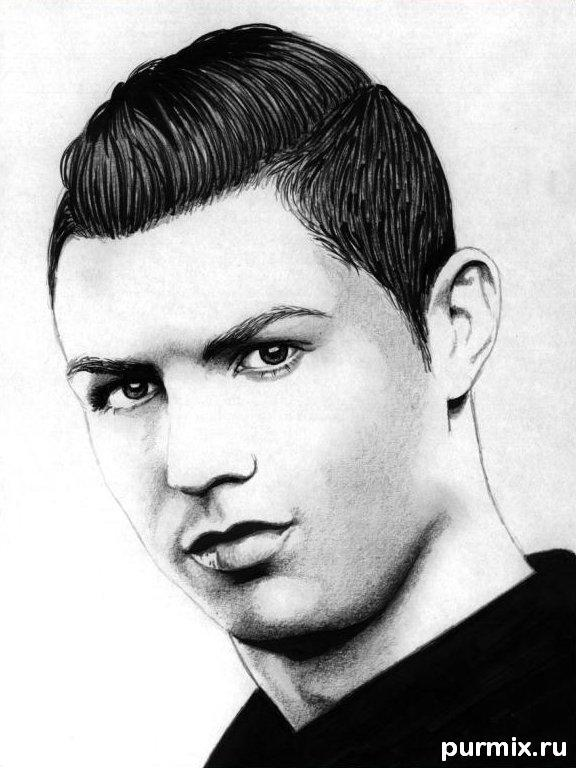 How to draw Cristiano Ronaldo's portrait with a simple pencil