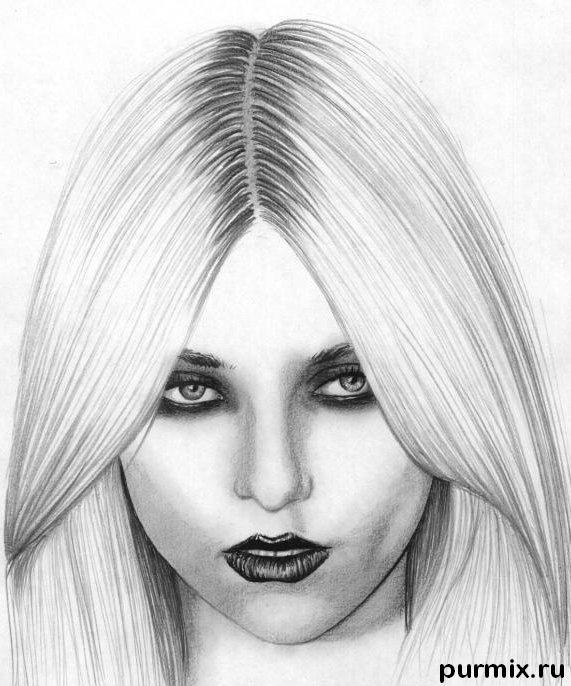 How to draw a portrait Taylor Momsen with a simple pencil