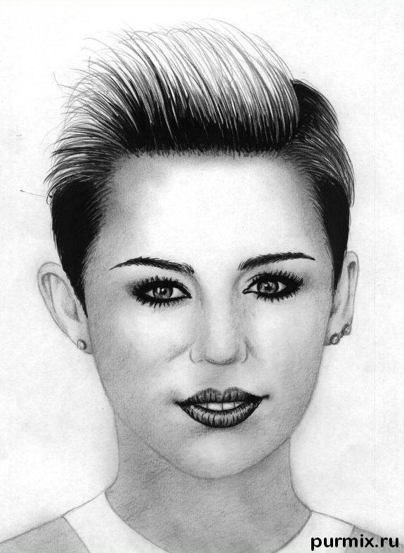 How to draw Miley Cyrus's portrait with a simple pencil