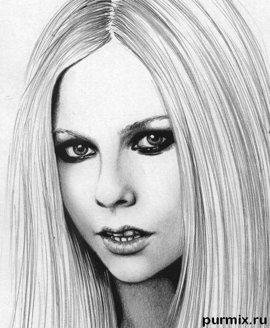 How to draw Avril Lavigne's portrait with a simple pencil