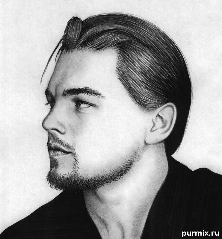 How to draw Leonardo Dicaprio's portrait with a simple pencil