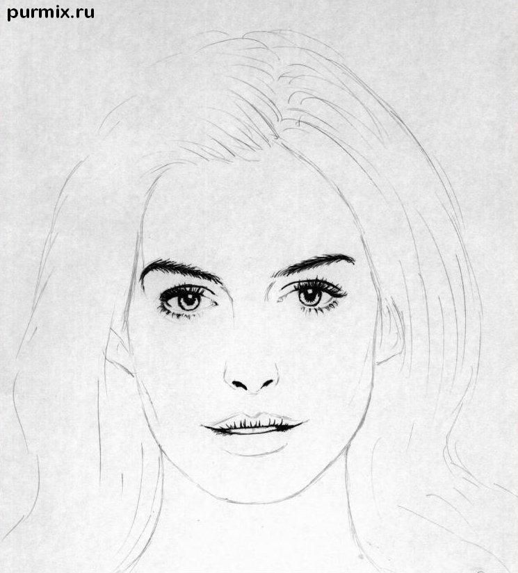 How to draw to draw Keira Knightley's portrait on paper step by step 2