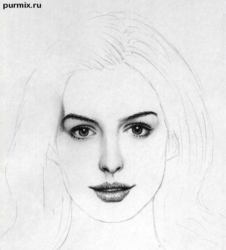 How to draw to draw Keira Knightley's portrait on paper step by step 5