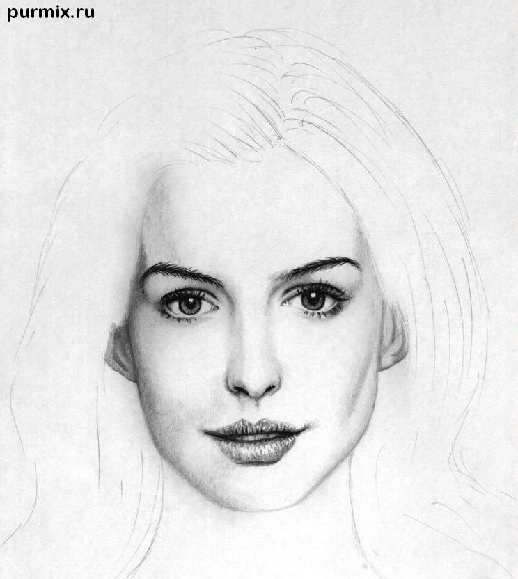 How to draw to draw Keira Knightley's portrait on paper step by step 6