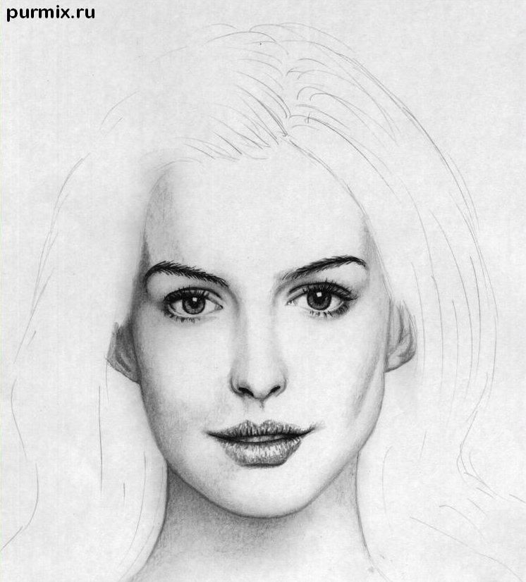 How to draw to draw Keira Knightley's portrait on paper step by step 7