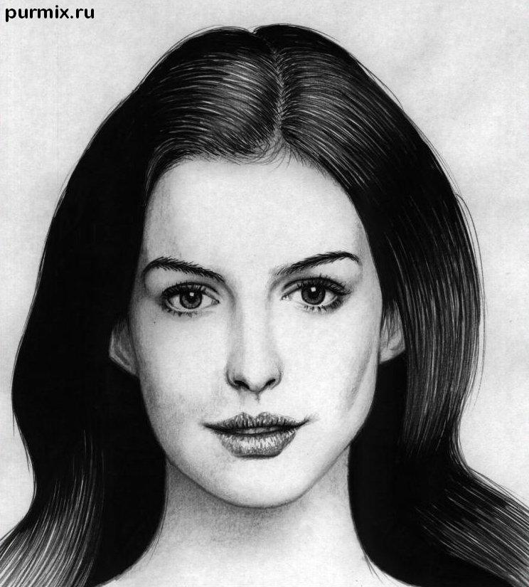 How to draw Ann Hathaway's portrait with a simple pencil step by step