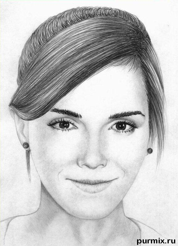 How to draw Emma Watson's portrait with a simple pencil step by step